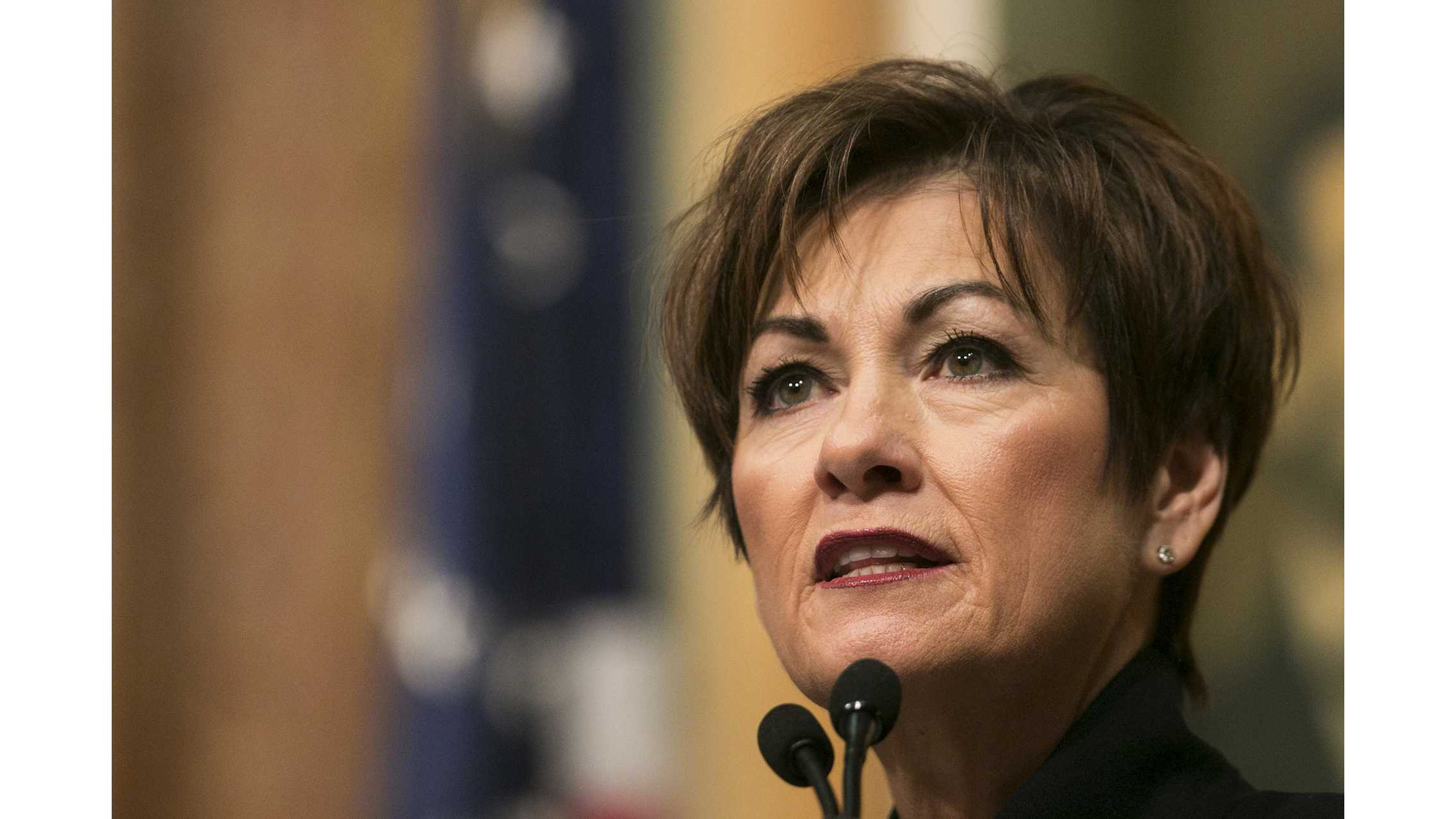 Iowa Gov. Kim Reynolds speaks during her first Condition of the State address in the Iowa State Capitol in Des Moines on Tuesday, Jan. 9, 2018. Reynolds took over the governor office in May of 2017. (Joseph Cress/The Daily Iowan)