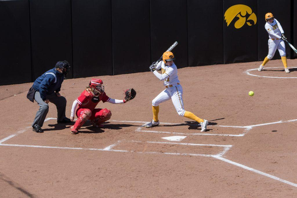 University+of+Iowa+softball+player+Allie+Wood+watches+a+pitch+during+a+game+against+the+University+of+Wisconsin+on+Saturday%2C+Apr.+7%2C+2018.+The+Hawkeyes+defeated+the+Badgers+3-0.+%28David+Harmantas%2FThe+Daily+Iowan%29