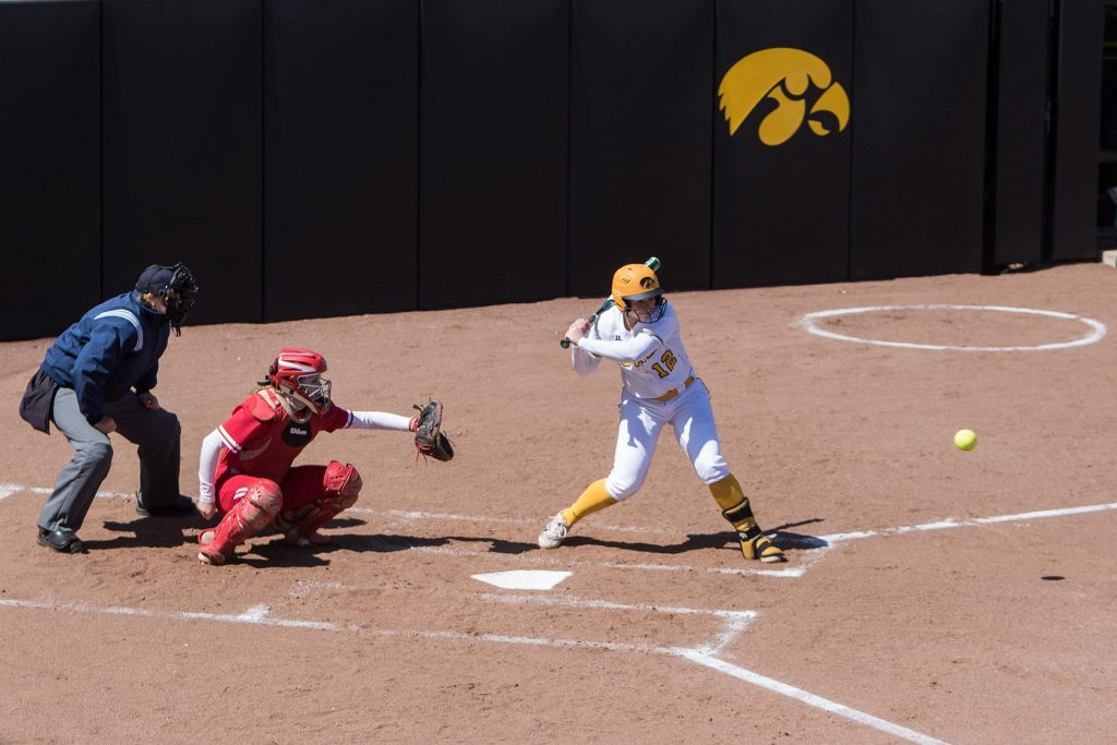 University+of+Iowa+softball+player+Angela+Schmiederer+watches+a+pitch+during+a+game+against+the+University+of+Wisconsin+on+Saturday%2C+Apr.+7%2C+2018.+The+Hawkeyes+defeated+the+Badgers+3-0.+%28David+Harmantas%2FThe+Daily+Iowan%29
