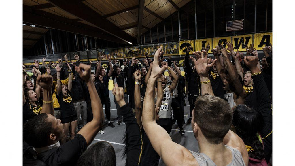 Iowa%27s+Mar%27Yea+Harris+pumps+up+the+Iowa+Track+and+Field+squad+during+the+Larry+Wieczorek+Invitational+meet+at+the+Campus+Recreation+Building+on+Jan.+20.+%28Nick+Rohlman%2FThe+Daily+Iowan%29