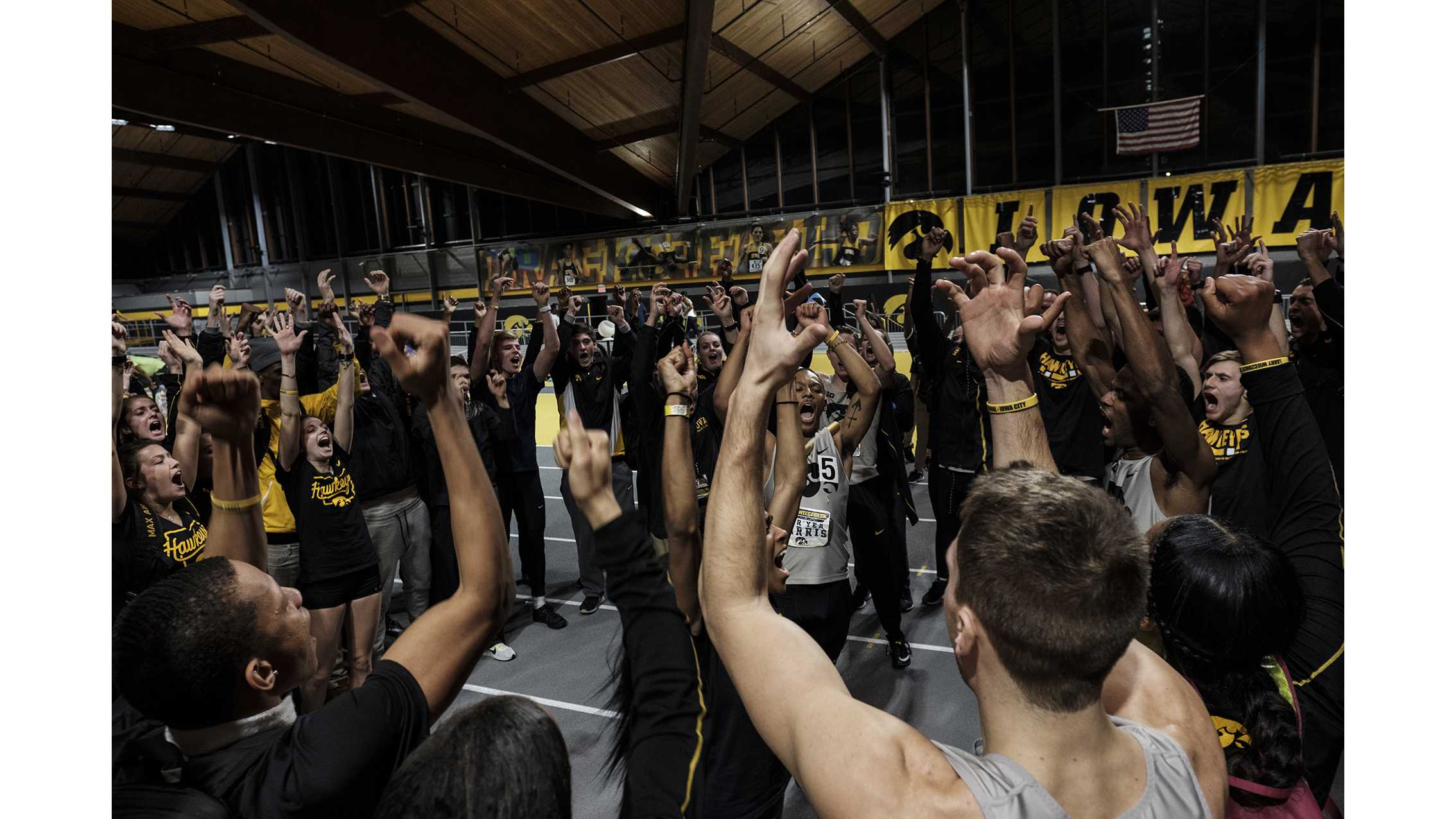 Iowa's Mar'Yea Harris pumps up the Iowa Track and Field squad during the Larry Wieczorek Invitational meet at the Campus Recreation Building on Jan. 20. (Nick Rohlman/The Daily Iowan)