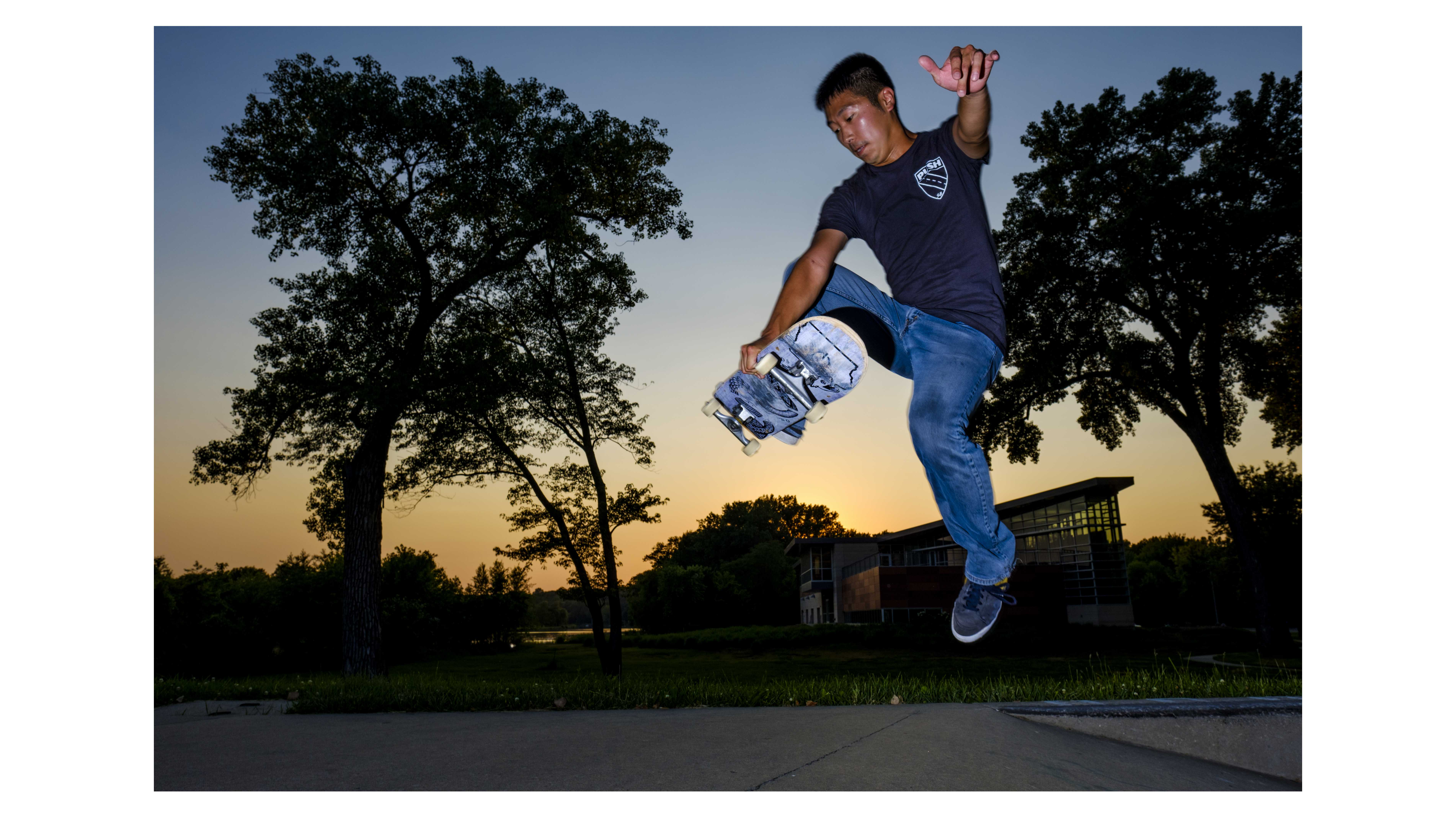 Push Skateboards founder Ben Peterson skates at the Iowa City Skate Park on Friday, June 15, 2018. Peterson often works more than 70 hours in a week between his full time job and responsibilities with Push, but still finds time to skateboard himself. (Nick Rohlman/The Daily Iowan)