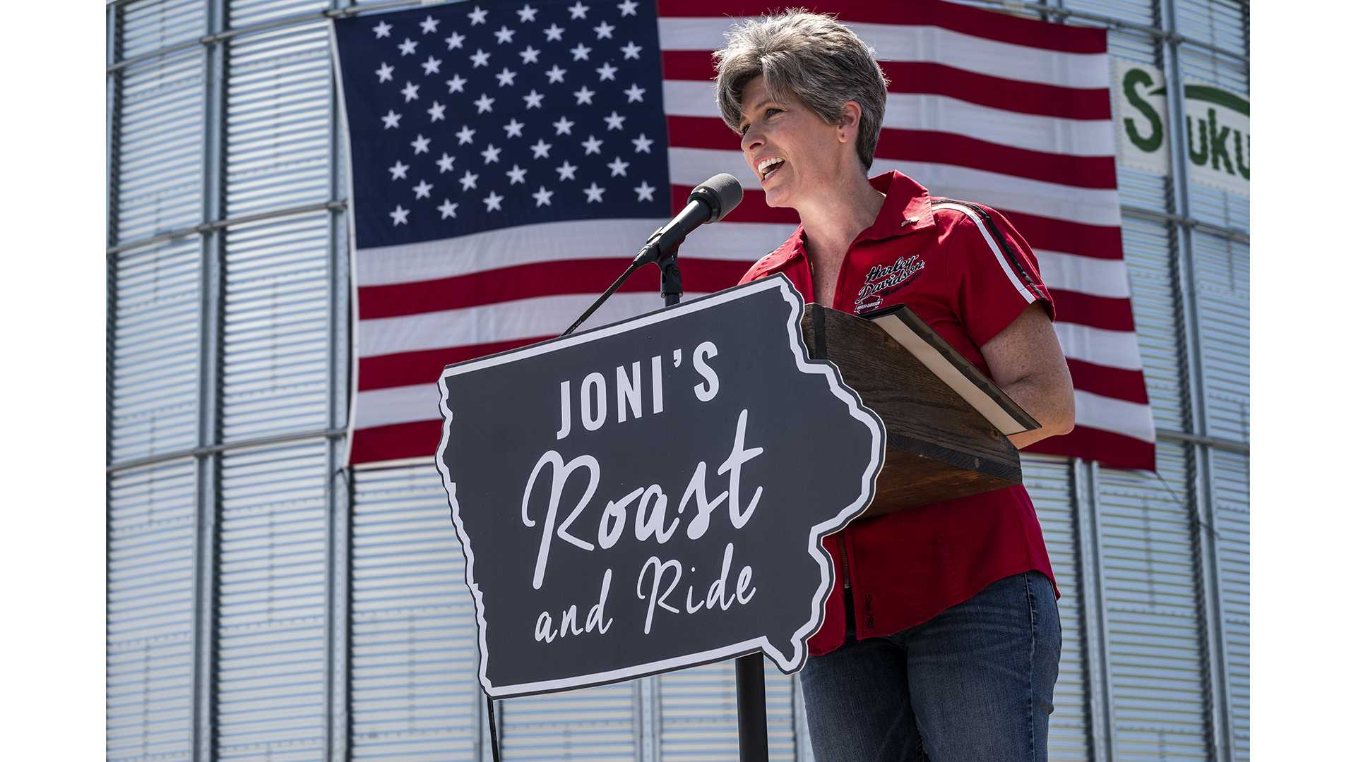 Sen. Joni Ernst, R-Iowa, speaks during the fourth annual Roast and Ride fundraiser in Boone, Iowa on Saturday, June 9, 2018. The event raises money for veterans' charities and provides a platform for state and national Republican officials to speak. (Nick Rohlman/The Daily Iowan)