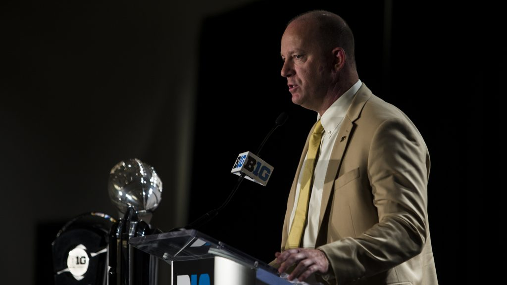 Purdue+Head+Coach+Jeff+Brohm+addresses+the+media+during+Big+Ten+Football+Media+Days+in+Chicago+on+Monday%2C+July+23%2C+2018.+%28Nick+Rohlman%2FThe+Daily+Iowan%29