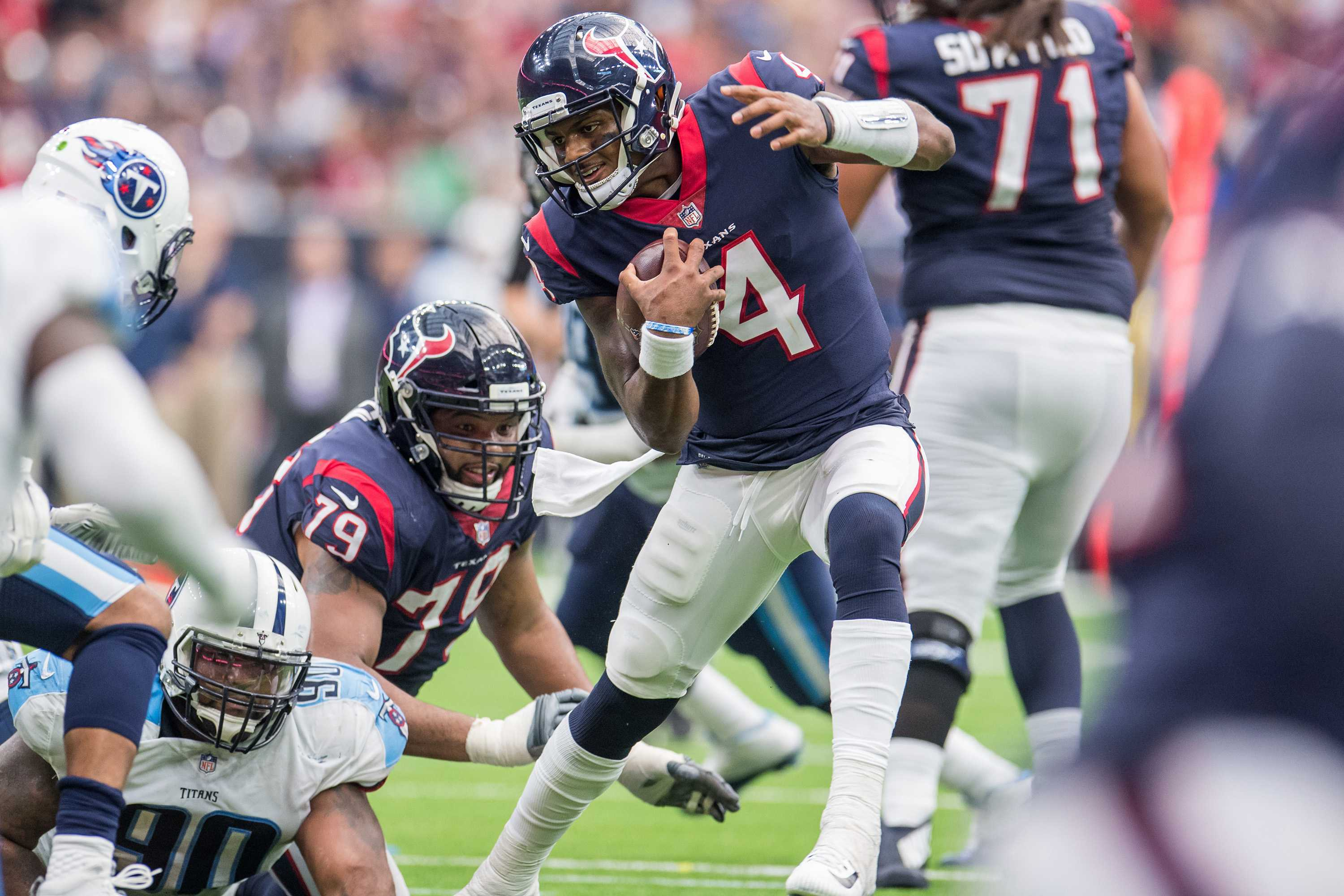 Houston Texans rookie quarterback Deshaun Watson passed for 283 yards with four touchdowns and added a rushing touchdown in the Texans' 57-14 win against the Tennessee Titans on October 1, 2017. Watson is lost for the season with a torn ACL, NFL.com's Ian Rapoport reported. (Trask Smith/Cal Sport Media/NFL Communications/Zuma Press/TNS)