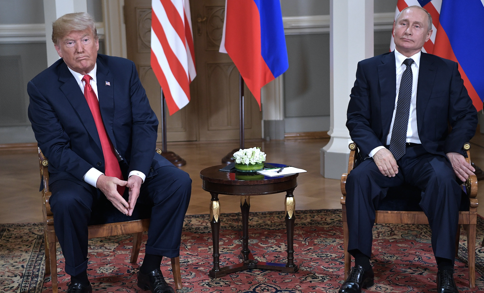 U.S. President Donald Trump, left, and Russian President Vladimir Putin during a meeting on Monday, July 16, 2018 in Helsinki, Finland. (Nikolsky Alexei/TASS/Zuma Press/TNS)