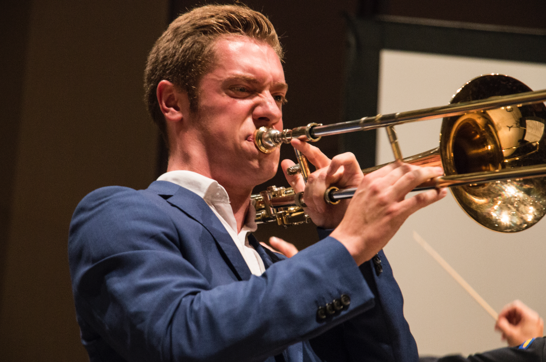 Soloist Peter Moore plays the trombone during the United States Army Field Band and Soldiers' Chorus concert at the Voxman Building on July 12, 2018. (Katina Zentz/The Daily Iowan)