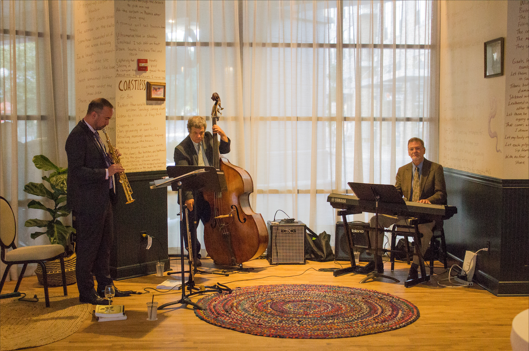 A live jazz band is seen at the Graduate hotel in Iowa City for a VIP tour on Tuesday, July 24, 2018. (Michael Aragon/The Daily Iowan)