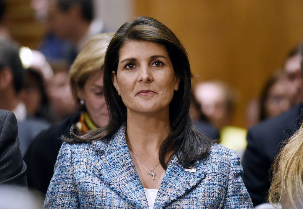U.N.+ambassador+Nikki+Haley+attends+Mike+Pompeo%27s+confirmation+hearing+before+the+Senate+Foreign+Relations+Committee+on+April+12%2C+2018+in+Washington%2C+D.C.+%28Olivier+Douliery%2FAbaca+Press%2FTNS%29