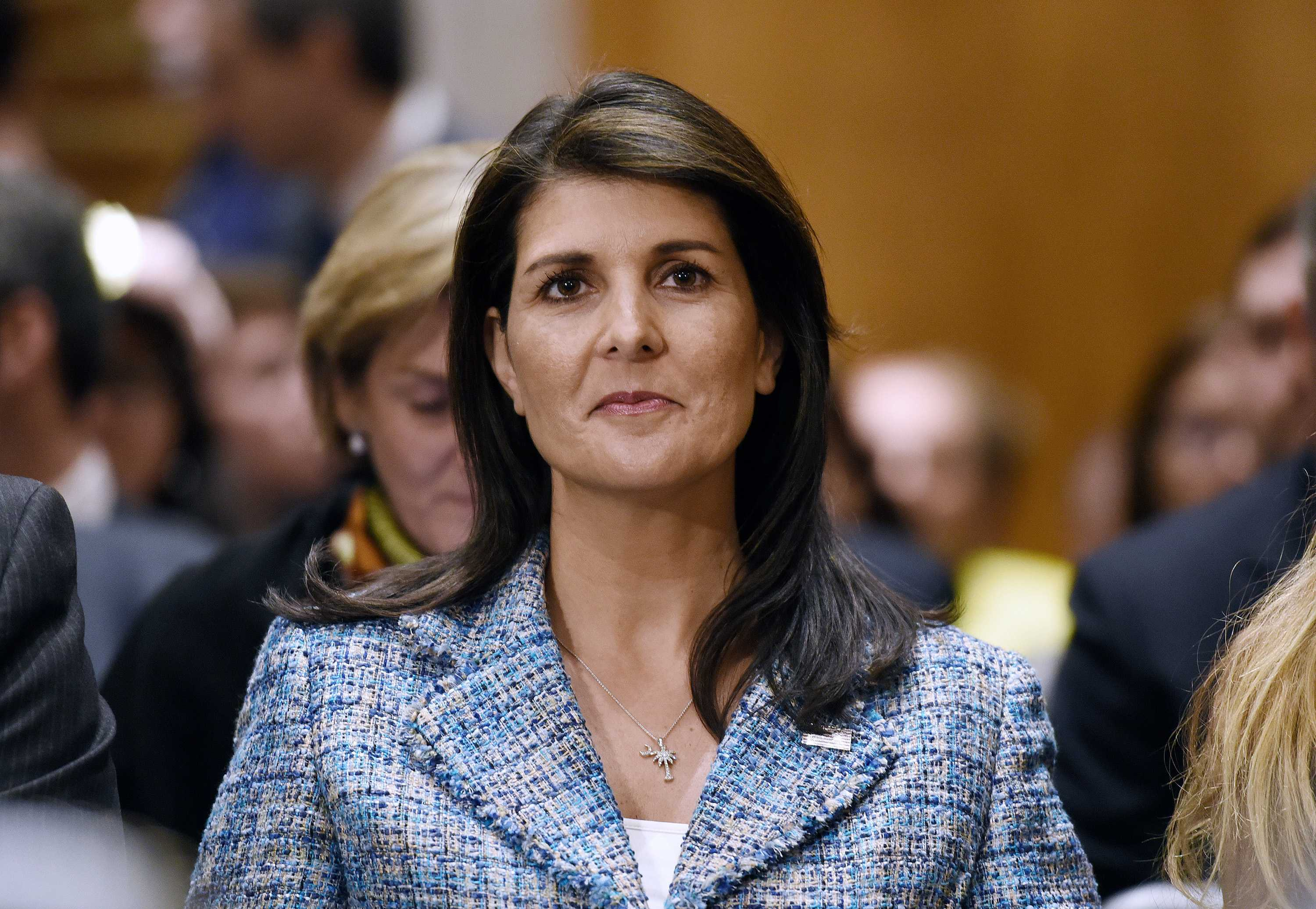 U.N. ambassador Nikki Haley attends Mike Pompeo's confirmation hearing before the Senate Foreign Relations Committee on April 12, 2018 in Washington, D.C. (Olivier Douliery/Abaca Press/TNS)