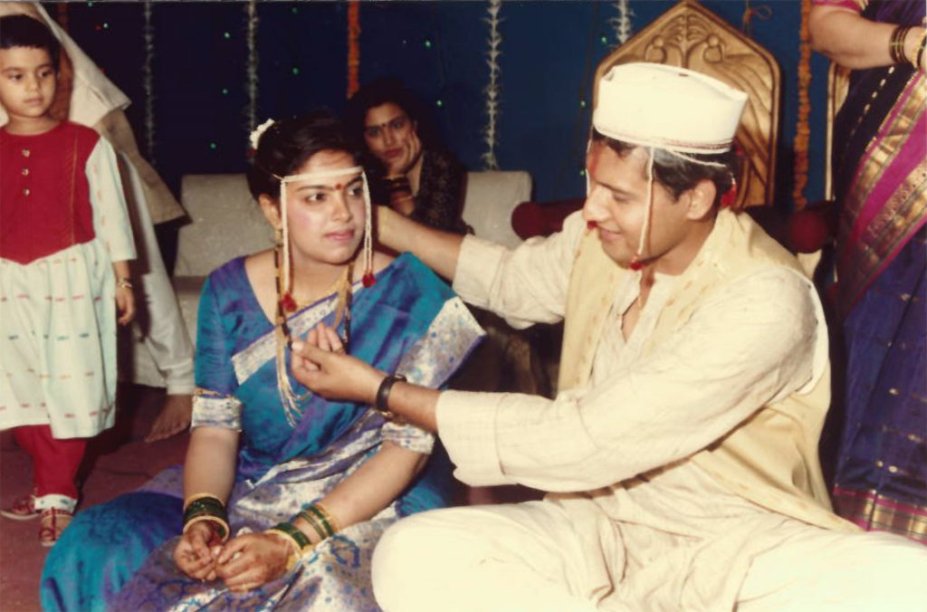 Aadit+Tambe%E2%80%99s+parents+Anagha+and+Makarand+are+seen+on+their+wedding+day+in+1994.+%28Contributed%29
