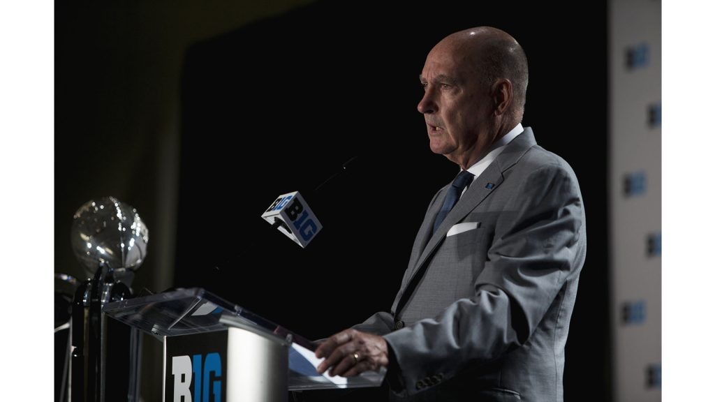 Big+Ten+Commissioner+Jim+Delany+addresses+the+media+at+Big+Ten+Football+Media+Days+in+Chicago+on+Monday%2C+July+23%2C+2018.+%28Nick+Rohlman%2FThe+Daily+Iowan%29