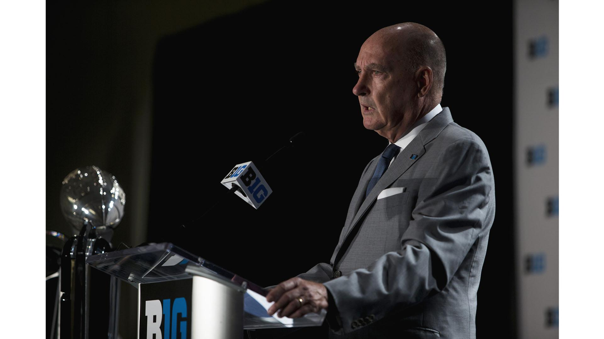 Big Ten Commissioner Jim Delany addresses the media at Big Ten Football Media Days in Chicago on Monday, July 23, 2018. (Nick Rohlman/The Daily Iowan)