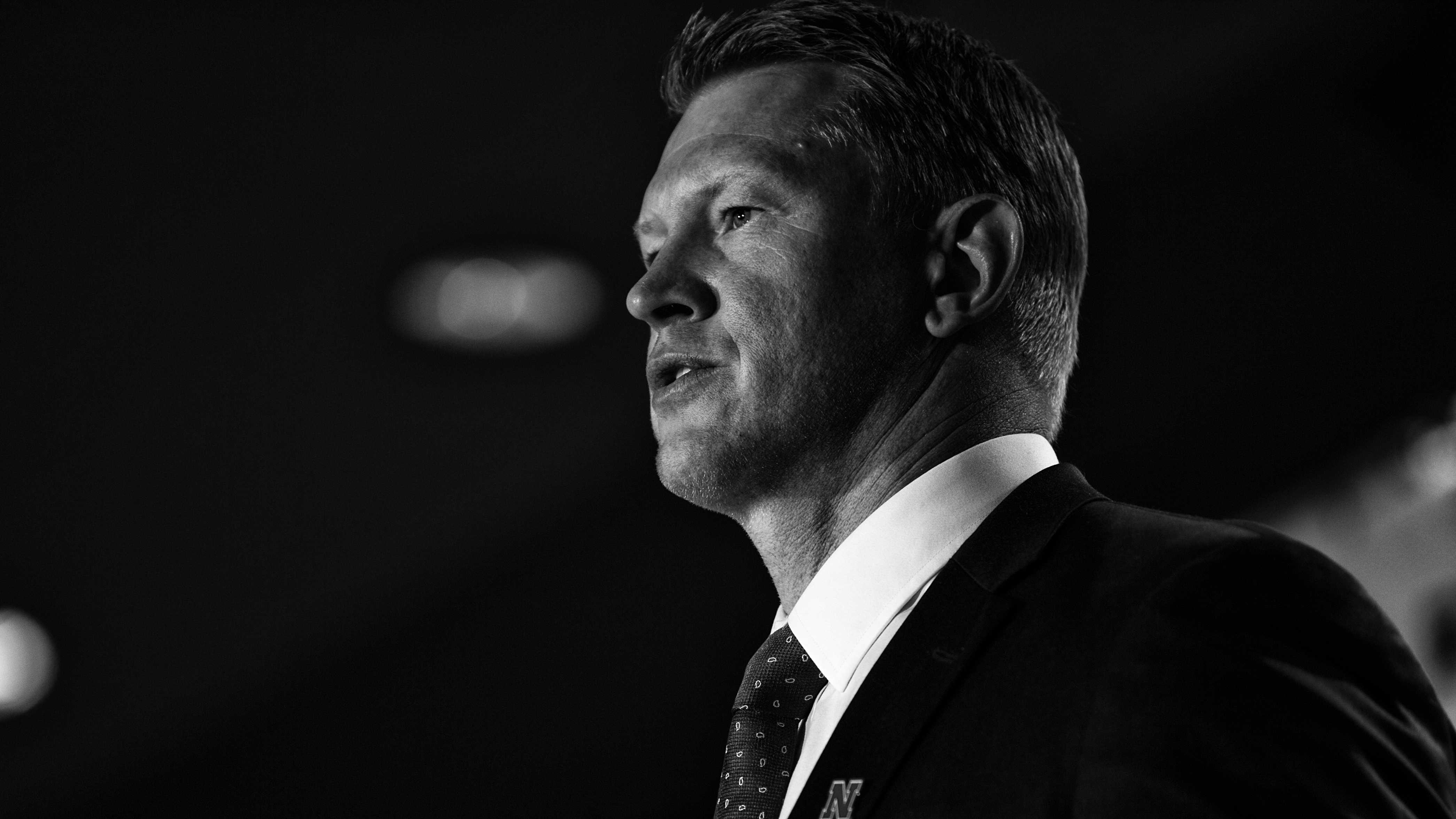 Nebraska Head Coach Scott Frost addresses the media at Big Ten Football Media Days in Chicago on Monday, July 23, 2018. (Nick Rohlman/The Daily Iowan)