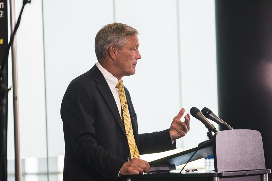 Iowa+football+head+coach+Kirk+Ferentz+speaks+at+a+press+conference+in+Carver-Hawkeye+Arena+during+Iowa+Football+Media+Day+on+Friday%2C+August+10%2C+2018.+Iowa+will+open+the+2018+football+season+at+home+against+Northern+Illinois+on+Saturday%2C+September+1.+