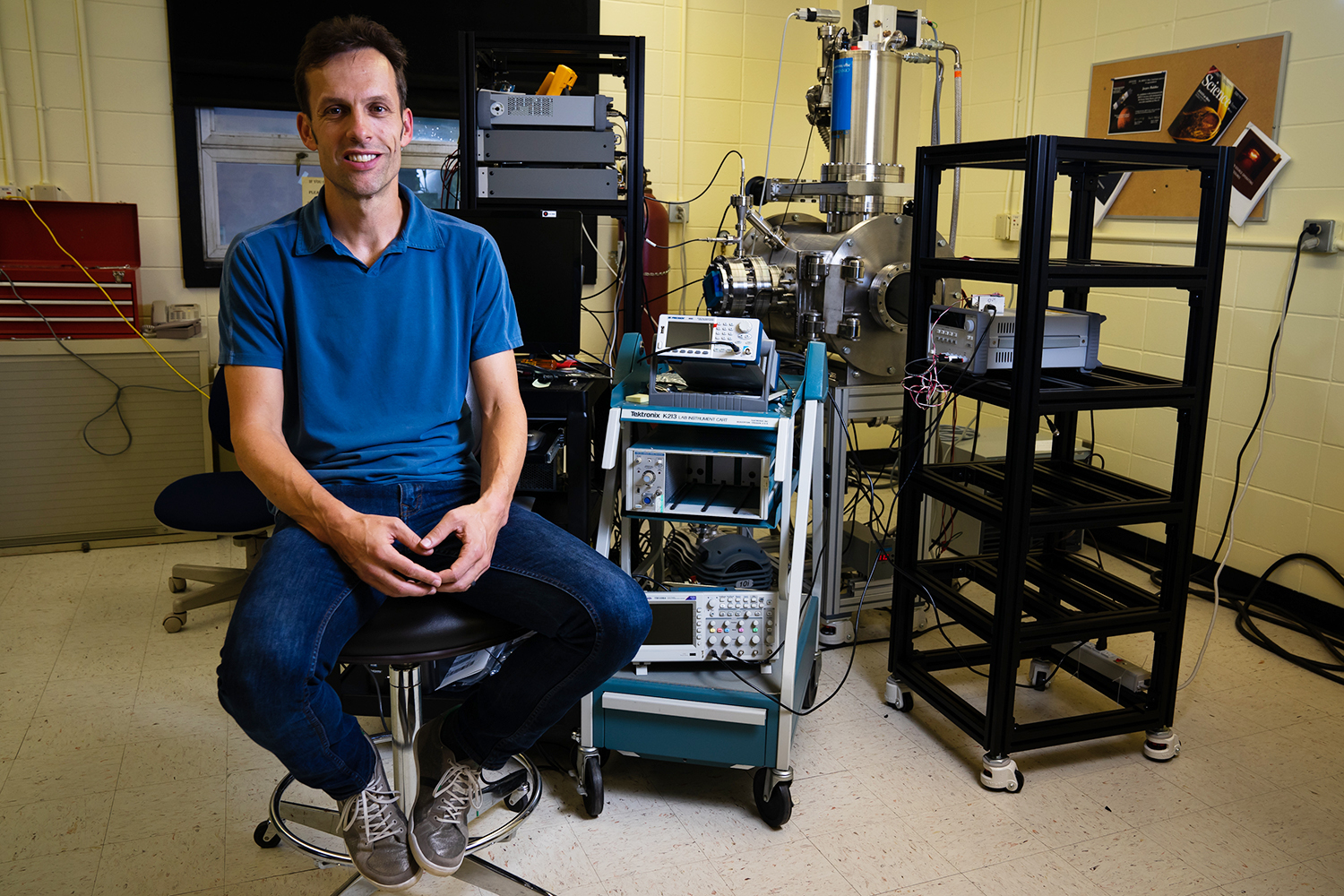 Dr Jasper Halekas poses for a portrait in his lab in Van Allen Hall on Friday, August 24, 2018. Halekas is a co-investigator on one of the experiments onboard the Parker Solar Probe.