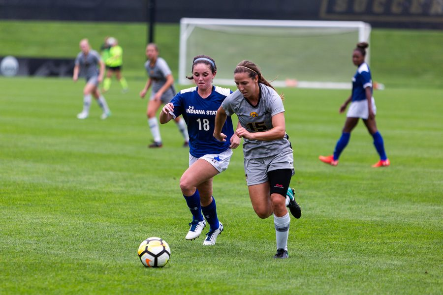 University+of+Iowa+soccer+player+Rose+Ripslinger+chases+the+ball+down+during+a+game+against+Indiana+State+University+on+Sunday%2C+Aug.+26%2C+2018.+Ripslinger+had+the+only+goal+of+the+game+and+the+Hawkeyes+defeated+the+Sycamores+1-0.+