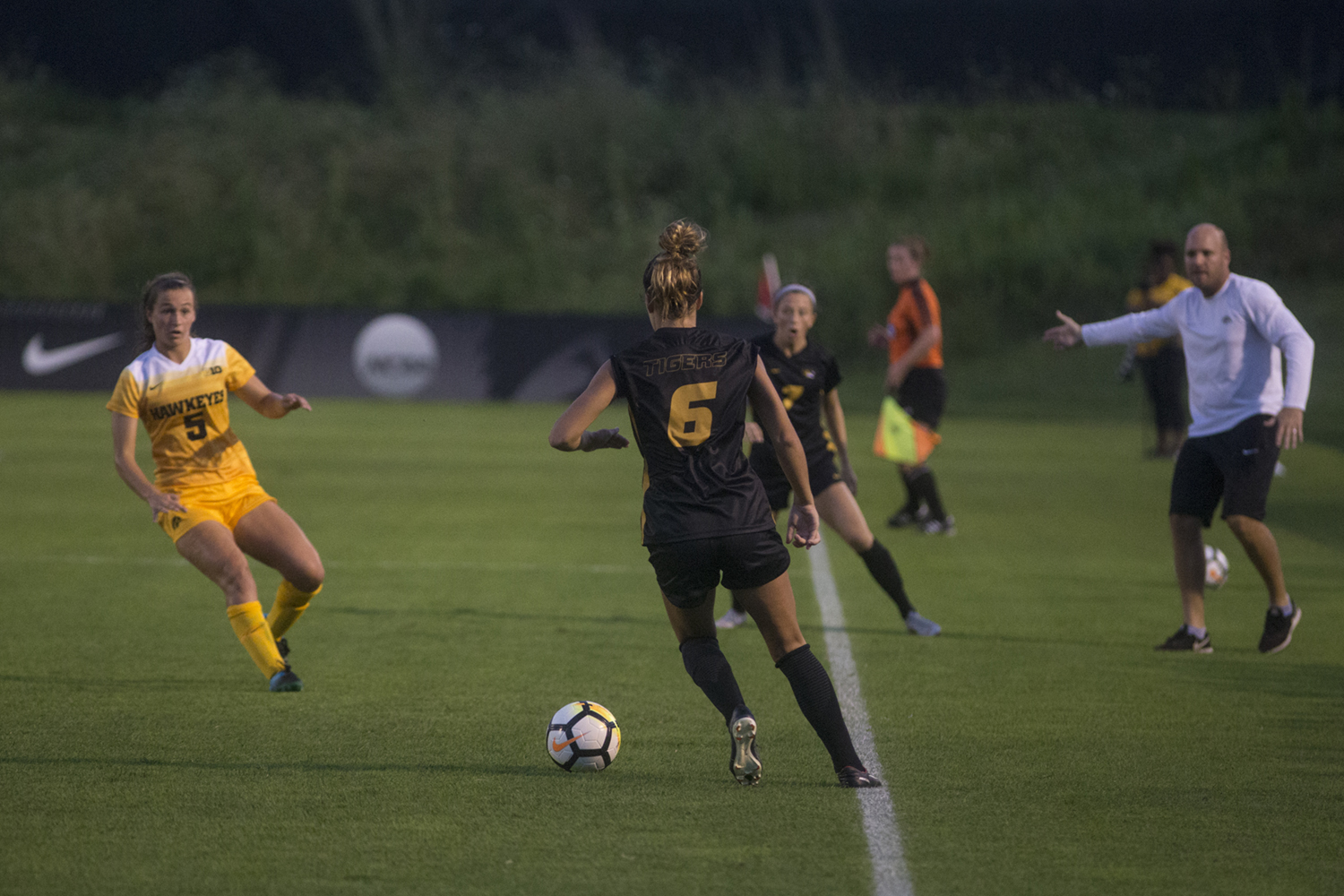 Iowa's Anna Frick navigate's the field during a soccer match between Iowa and Missouri at the Iowa Soccer Complex on Friday, Aug. 17, 2018. The Hawkeyes drew the Tigers, 0-0.