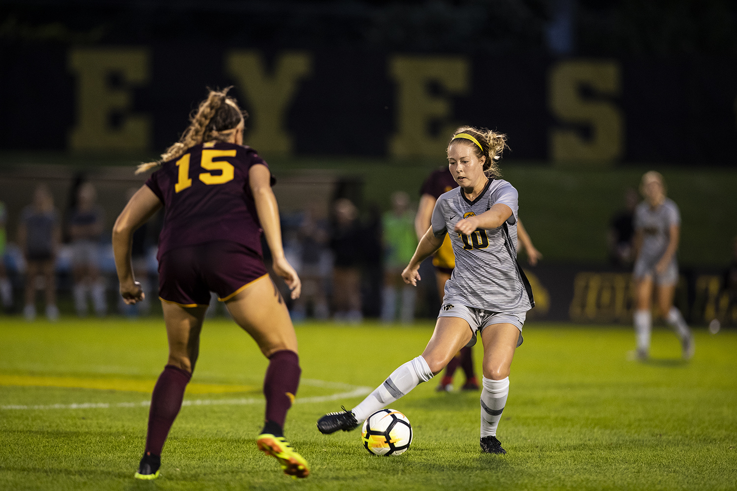 Iowa Midfielder Natalie Winters (10) plays a pass during Iowa's game against Central Michigan on Friday, Aug. 31, 2018. The Hawkeyes defeated the Chippewas 3-1. Winters scored the Hawkeyes' third goal on a penalty kick in the second half. (Nick Rohlman/The Daily Iowan)