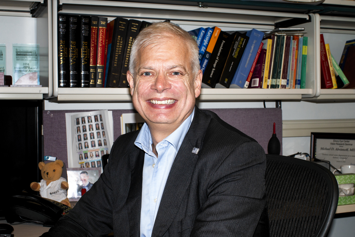 UI Professor Michael Abramoff sits for a portrait in the UIHC Pomerantz Family Pavilion on Aug. 29. Abramoff founded the IDx company to create IDx-DR, a technology used to detect diabetic retinopathy.