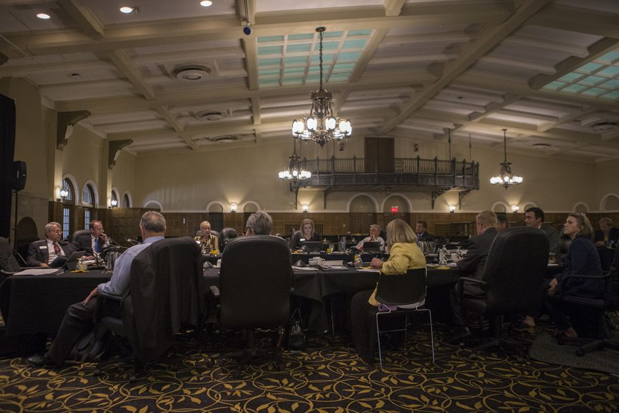 Board+members+listen+during+the+Board+of+Regents+meeting+on+Sept.+12%2C+2018+in+the+IMU+Main+Lounge.+Regents+members+discussed+remodeling+various+buildings+and+sights+across+various+Iowa+campuses.