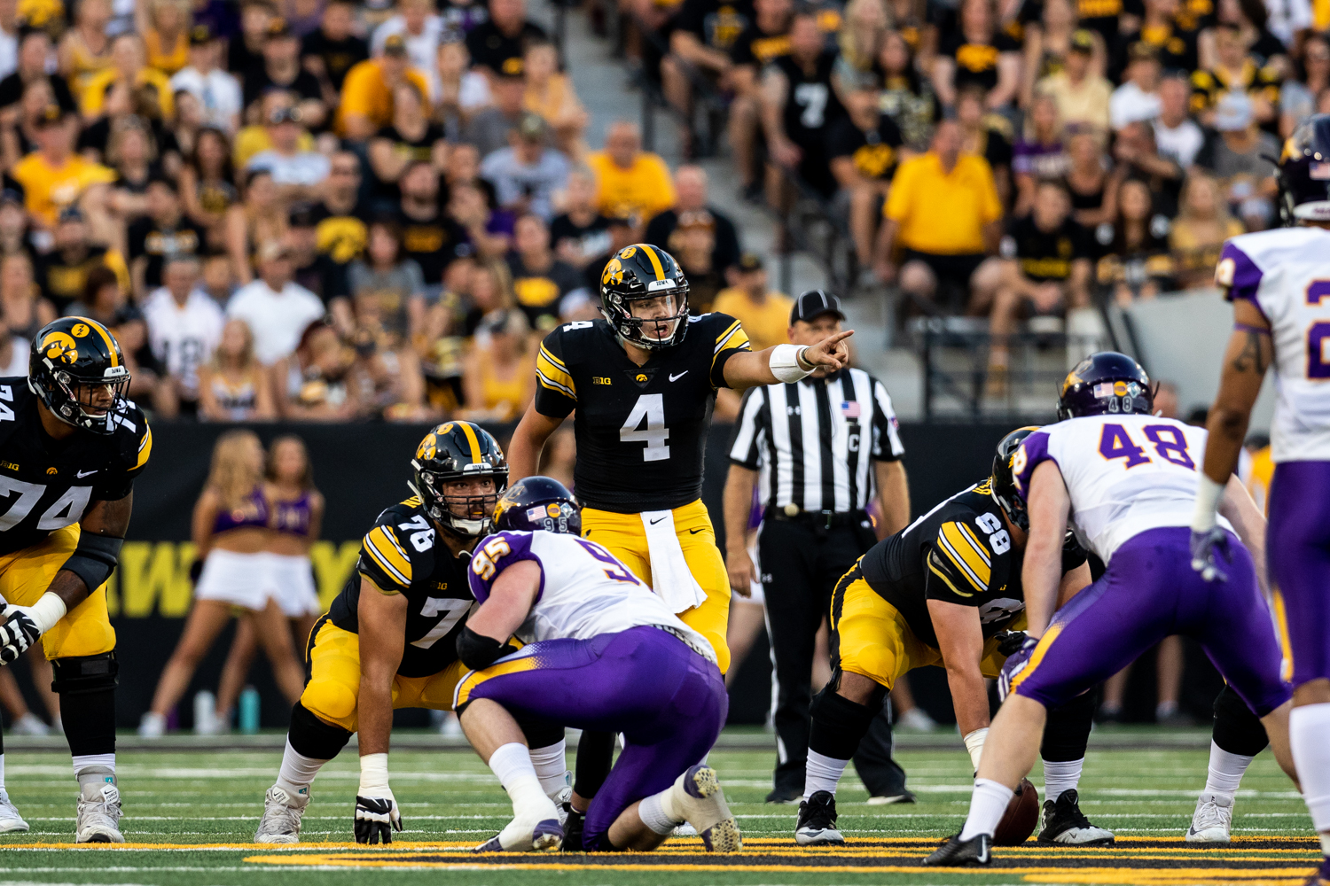 Iowa Hawkeyes quarterback Nate Stanley (4) calls out signals to his offense during a game against Northern Iowa at Kinnick Stadium on Saturday, Sep. 15, 2018. The Hawkeyes defeated the Panthers 38–14. (David Harmantas/The Daily Iowan)