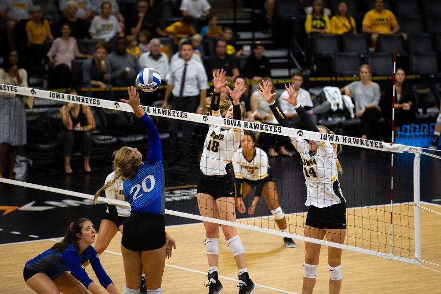 Hannah+Clayton+and+Cali+Hoye+block+the+ball+during+Iowa%27s+match+against+Eastern+Illinois+on+Sunday%2C+Sept.+9%2C+2018+at+Carver-Hawkeye+Arena.+The+Hawkeyes+won+the+match+3-0.
