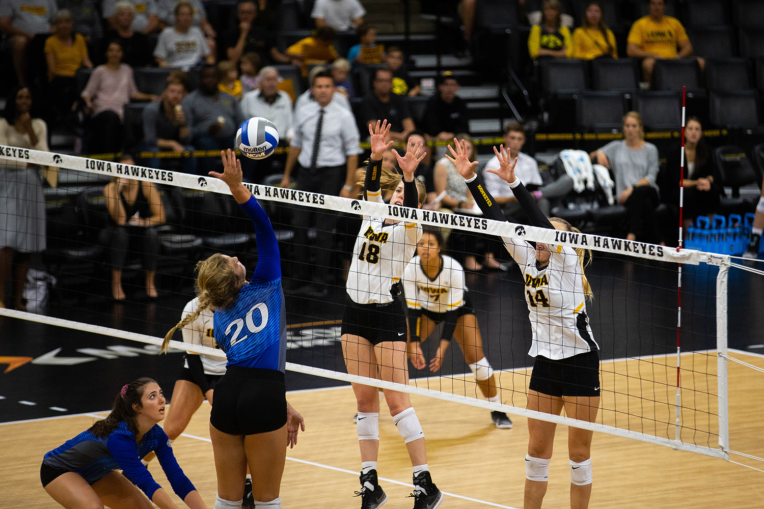 Hannah Clayton and Cali Hoye block the ball during Iowa's match against Eastern Illinois on Sunday, Sept. 9, 2018 at Carver-Hawkeye Arena. The Hawkeyes won the match 3-0.