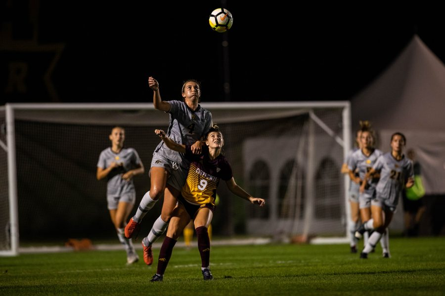 Iowa+forward+Kaleigh+Haus+wins+a+header+during+Iowa%27s+game+against+Central+Michigan+on+Friday%2C+Aug.+31%2C+2018.+The+Hawkeyes+defeated+the+Chippewas+3-1.