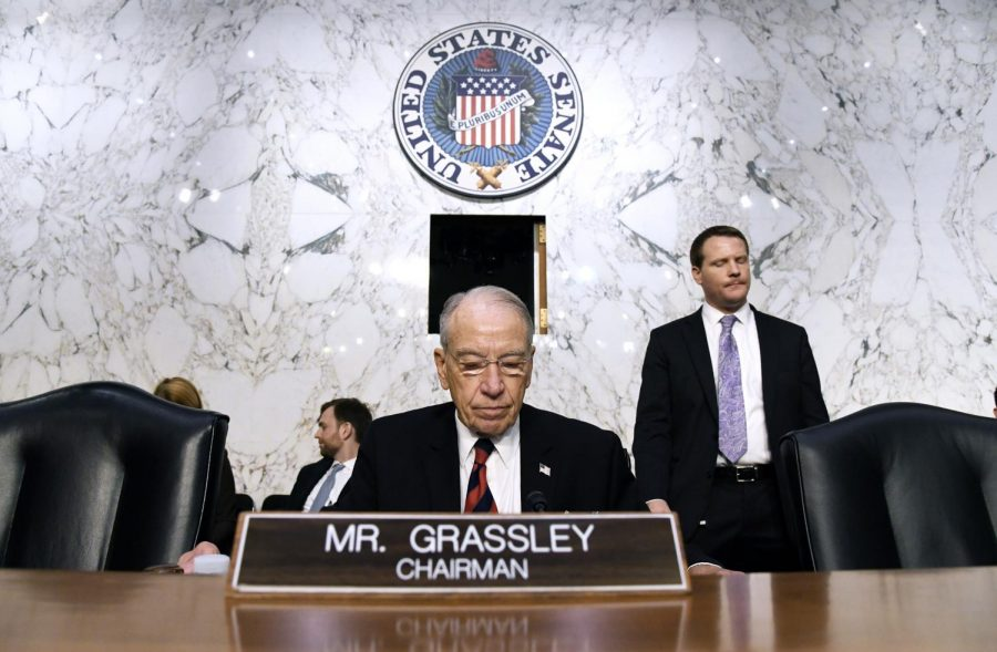 Senate+Judiciary+Committee+Chairman+Chuck+Grassley+looks+on+before+the+confirmation+hearings+of+Supreme+Court+nominee+Brett+Kavanaugh+before+the+Senate+Judiciary+Committee+on+Capitol+Hill+Sept.+4%2C+2018+in+Washington%2C+D.C.+%28Olivier+Douliery%2FAbaca+Press%2FTNS%29+