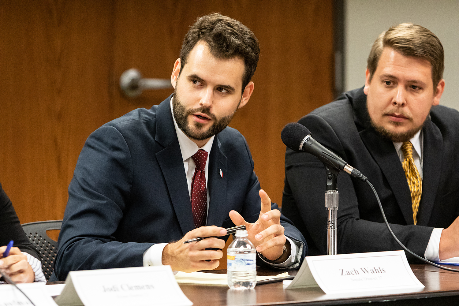 Zack Wahls, the Democratic candidate for Iowa State Senate District 37, participates in a public forum at the Coralville Public Library on Monday, Sept. 10, 2018.