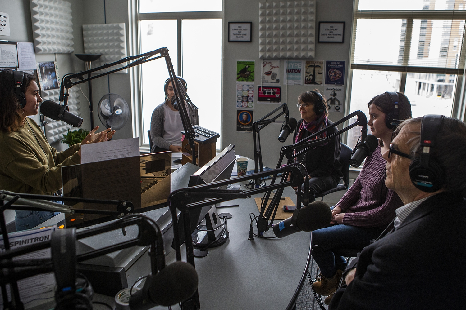 The Tinkers listen to a question during an interview with the Tinkers at the KRUI studio on Tuesday, February 26, 2019. Mary Beth and John wore black arm bands to school in protest of the Vietnam War, leading to the Tinker vs. Des Moines court case in 1969.(Katina Zentz/The Daily Iowan)