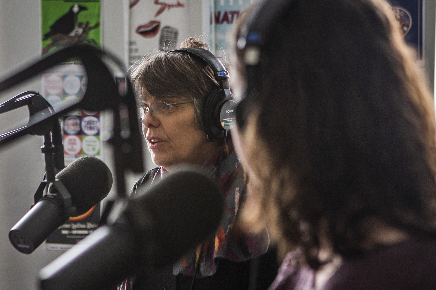 Mary Beth Tinker discusses how she and her brother John protested the Vietnam War in 1969 during an interview with the Tinkers at the KRUI studio on Tuesday, February 26, 2019. Mary Beth and John wore black arm bands to school in protest of the war, leading to the Tinker vs. Des Moines court case in 1969.(Katina Zentz/The Daily Iowan)