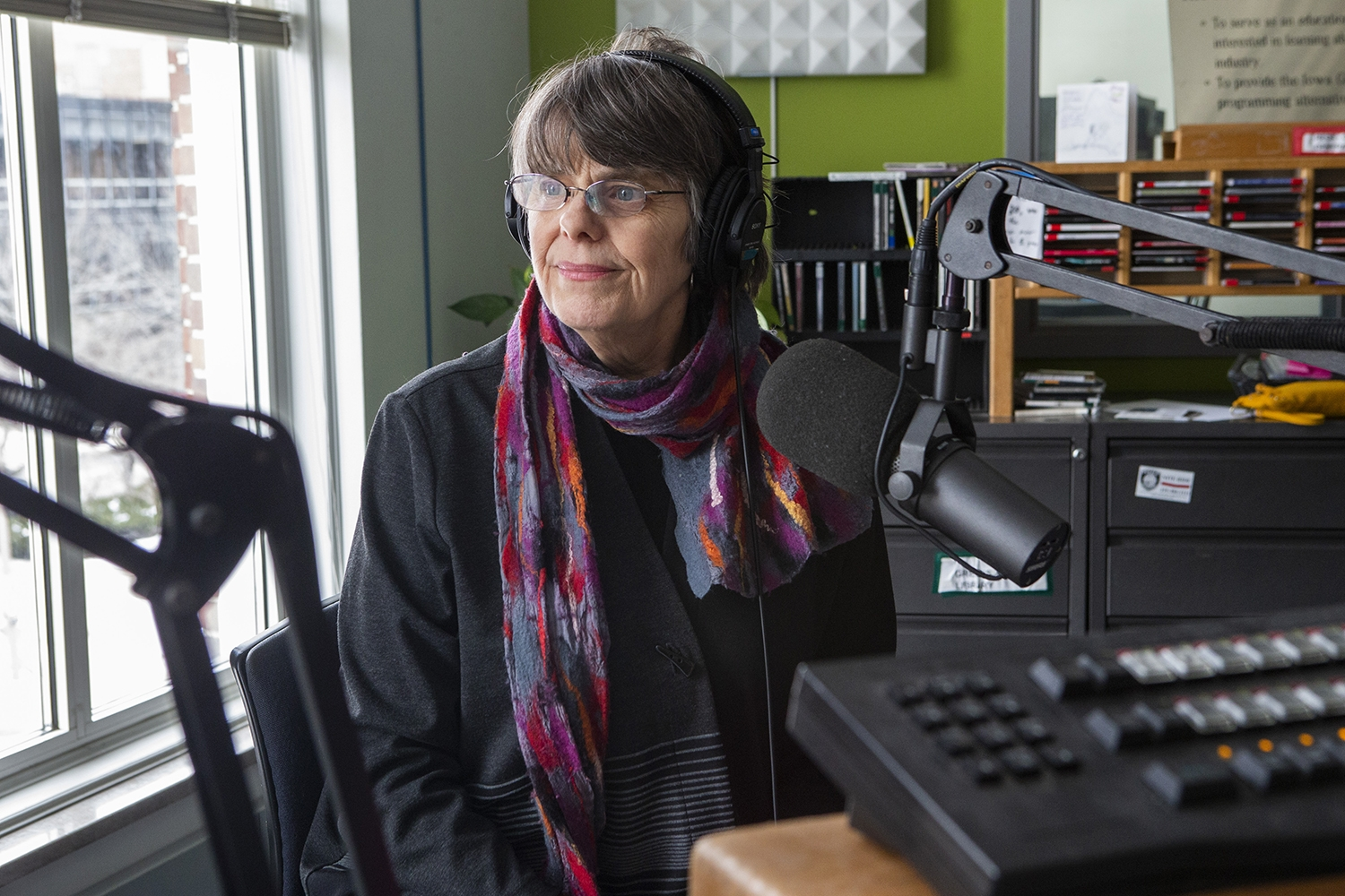 Mary Beth Tinker listens to a question during an interview with the Tinkers at the KRUI studio on Tuesday, February 26, 2019. Mary Beth and John Tinker wore black arm bands to school in protest of the Vietnam War, leading to the Tinker vs. Des Moines court case in 1969.(Katina Zentz/The Daily Iowan)