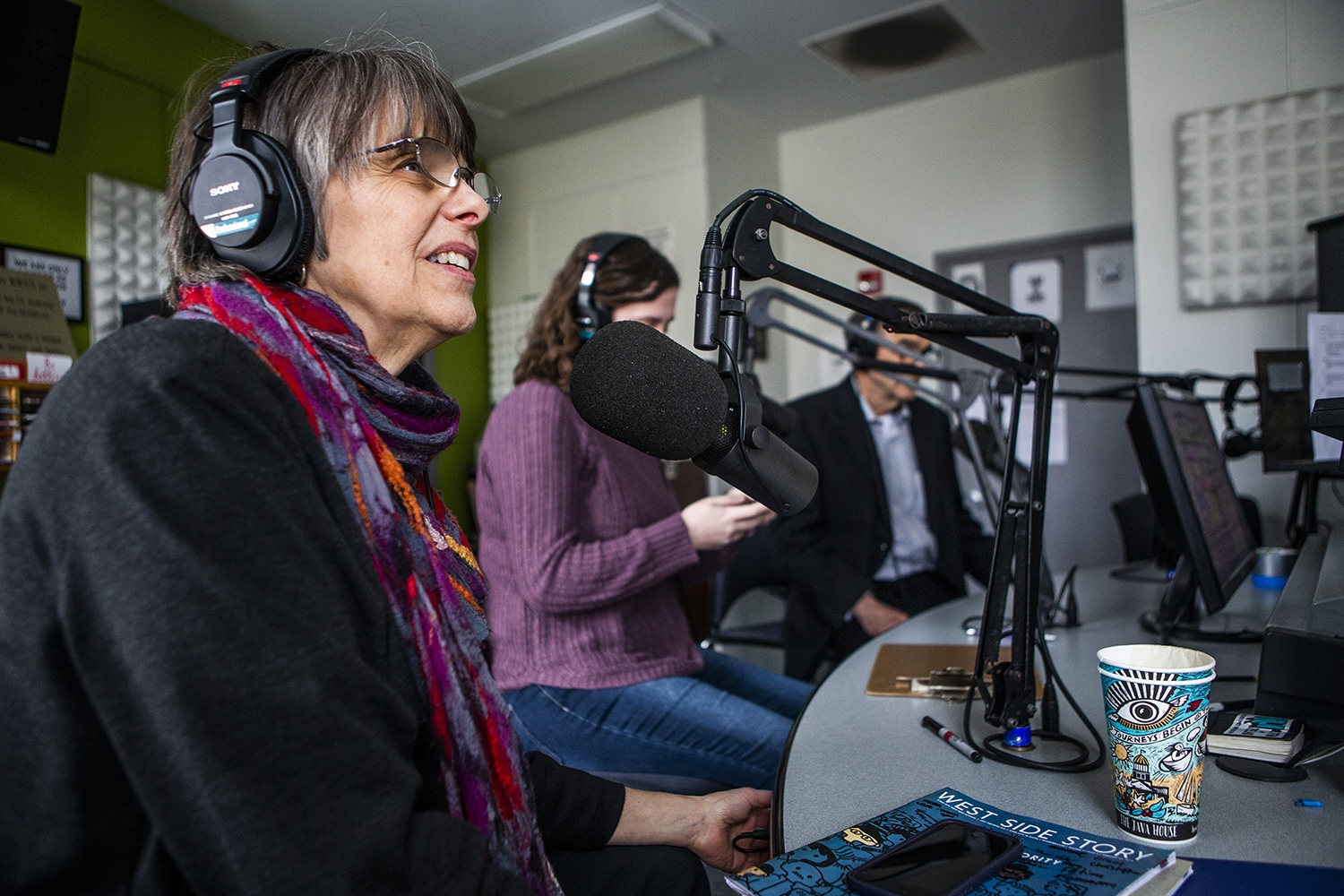 Mary Beth Tinker answers questions during an interview with the Tinkers at the KRUI studio on Tuesday, February 26, 2019. Mary Beth and John wore black arm bands to school in protest of the Vietnam War, leading to the Tinker vs. Des Moines court case in 1969.(Katina Zentz/The Daily Iowan)