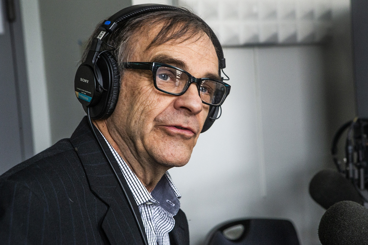 John Tinker discusses the aspects of free speech during an interview with the Tinkers at the KRUI studio on Tuesday, February 26, 2019. John, along with his sister Mary Beth, wore black arm bands to school in protest of the Vietnam War, leading to the Tinker vs. Des Moines court case in 1969.(Katina Zentz/The Daily Iowan)