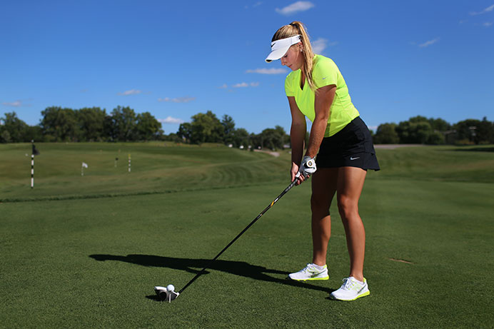 Iowa golfer Amy Ihm prepares to drive during media day at Finkbine on Tuesday, Aug. 25, 2015. Ihm is one of two seniors on the team. (The Daily Iowan/Margaret Kispert)