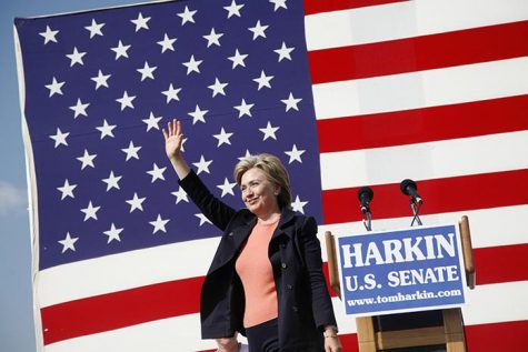 Sarah O'Brien/The Daily Iowan Senator Hillary Clinton waves to the crowd after her speech at the Harkin Steak Fry in Indianola, Iowa, on Sunday, September 16, 2007.  Clinton told the crowd what her goals will be if she is elected to the White House.
