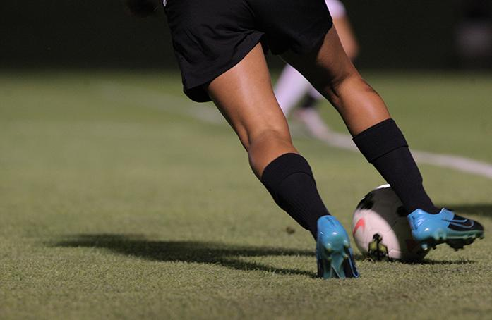 The soccer ball is shown at the Soccer Complex during the Iowa vs. Pacific match on Friday, August 21, 2015. The Iowa Hawkeyes defeated the Pacific Tigers at the season opener, 1-0. (The Daily Iowan/Courtney Hawkins)