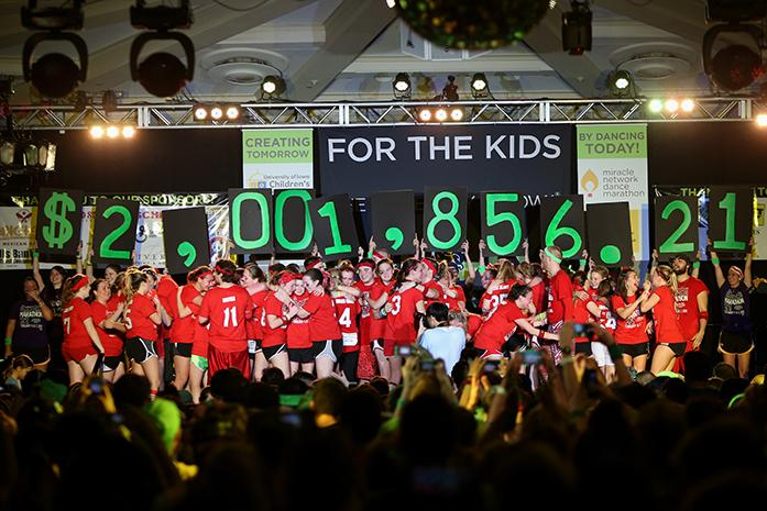 The+total+amount+of+money+raised+is+reveled+during+the+final+hour+of+the+Big+Event+in+the+Iowa+Memorial+Union+on+Feb.+7%2C+2015.+The+goal+for+Dance+Marathon+this+year+was+two+million+dollars.This+is+Dance+Marathon%27s+21st+Big+Event+at+UI.