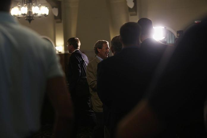 The newly appointed President Bruce Harreld talks to people of the community after a regents meeting in the IMU on Thursday, Sept. 3, 2015. Harreld is the 21st president of the University of Iowa. (The Daily Iowan/Margaret Kispert)