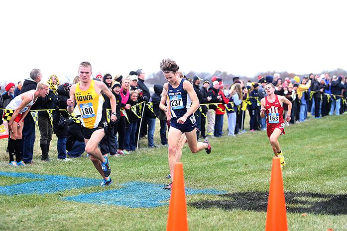 Penn+state+runner+Matt+Fischer+races+to+catch+Iowa+runner+Kevin+Lewis+at+the+Big+10+conference+cross+country+meet+on+Sunday%2C+Nov.+2%2C+2014.+Michigan+State+won+the+women%27s++title%2C+and+Wisconsin+claimed+the+men%27s+title.+For+individual+titles%2C+Michigan+State+runner+Leah+O%27Conner+won+the+women%27s+race%2C+and+Wisconsin+runner+Malachy+Schrobilgen+won+the+men%27s+race.+%28The+Daily+Iowan%2FJohn+Theulen%29