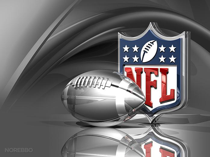 3d+illustration+of+an+NFL+logo+behind+a+transparent+silver+American+football+over+a+metallic+silk+background