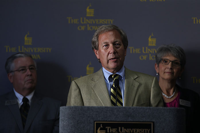 The new UI President Bruce Harreld addresses the crowd during a meeting in the IMU on Thursday, Sept. 3, 2015. (File photo/The Daily Iowan)