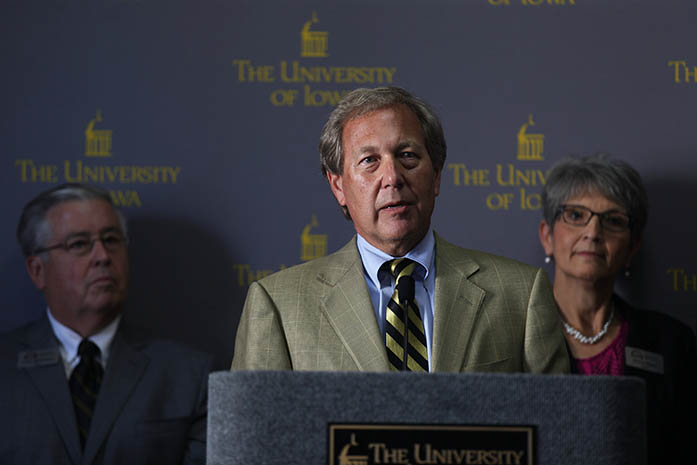 FILE - UI President Bruce Harreld addresses the crowd during a meeting in the IMU on Thursday, Sept. 3, 2015 after being selected 21st president of the UI. (The Daily Iowan/file)