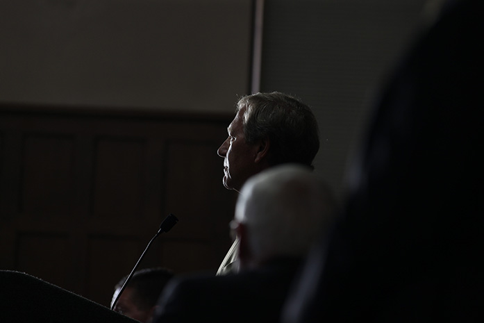 The new UI President Bruce Harreld addresses the crowd during a meeting in the IMU on Thursday, Sept. 3, 2015. Harreld was part of the faculty of Harvard Business. (The Daily Iowan/Margaret Kispert)
