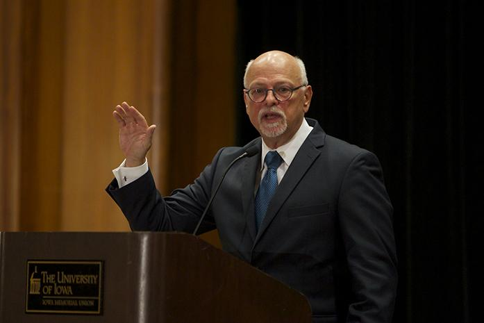 Ohio State University Provost Joseph Steinmetz, the third finalist to replace Sally Mason as University of Iowa president. The fourth and final presidential public forum will take place this afternoon. (The Daily Iowan/Carly Matthew)