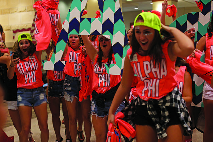 Members of Alpha Phi welcome new members at the IMU during Bid Day on Monday, Sept. 8, 2014. Notable A Phi members include Kimberly Williams Paisley. (The Daily Iowan/Joshua Housing)