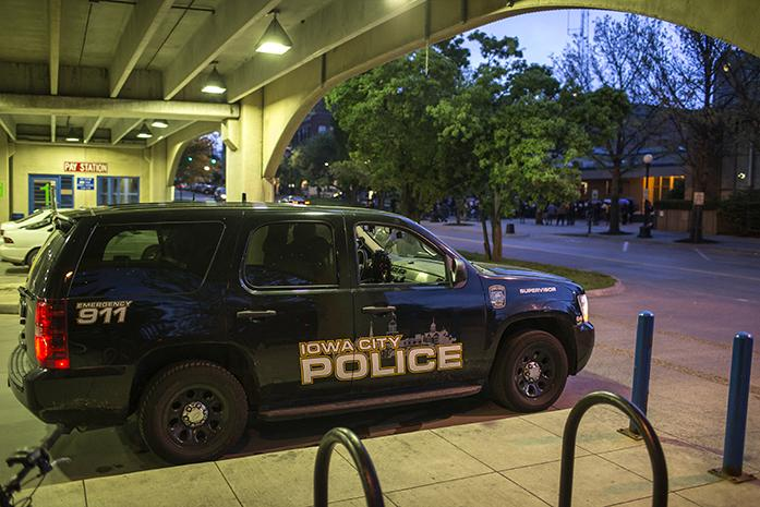 A police car sits inside the a parking garage on Monday, May 4, 2015.