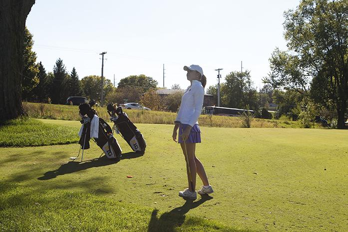 Junior UI golfer, Shelby Philips practicing for an upcoming meet on September 16th, 2014 at Finkbine golf course. The womens golf team competed with each other for their place in the meet. ({TheDailyIowan}/{AnnaKilzer})